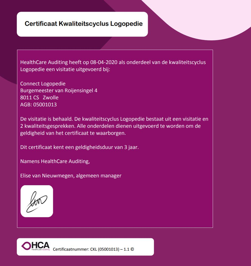 Certificaat Kwaliteitscyclus Logopedie in the pocket!