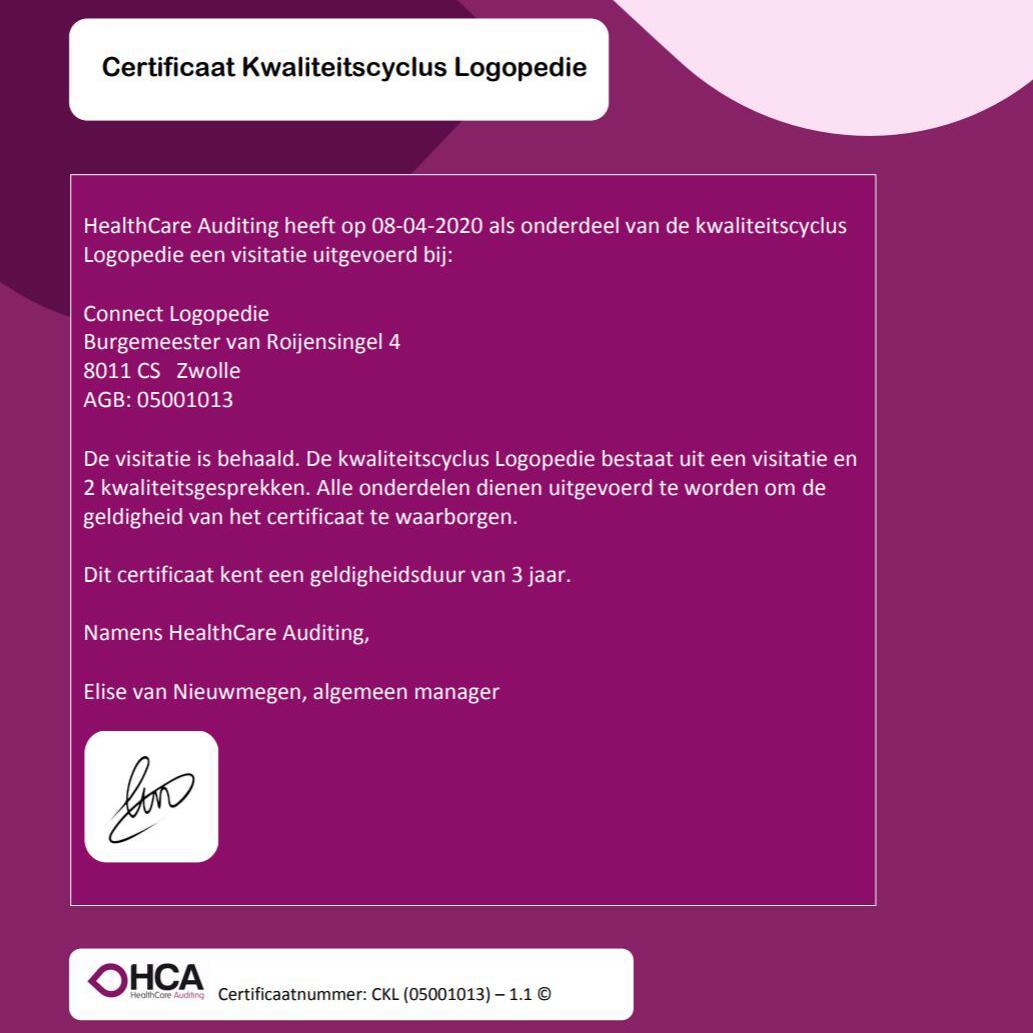 Certificaat Kwaliteitscyclus Logopedie in the pocket!